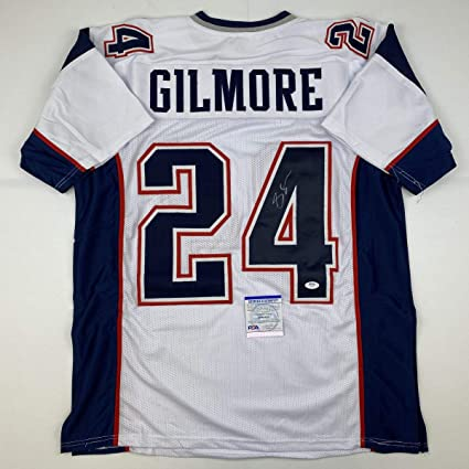 Autographed/Signed Stephon Gilmore New England White Football Jersey PSA/DNA COA