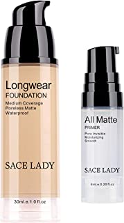 Liquid Foundation with Face Primer, Pro Matte Poreless Flawless Finish Waterproof Foundation Makeup Longwear Lasting with ...