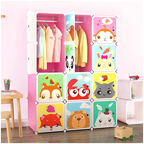 b907ea30e Tespo Portable Clothes Closet Wardrobe for Children and Kids, Cute Cartoon,  DIY Modular Storage