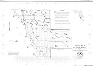 Historic Pictoric Map : Geologic map of Sarasota County, Florida, 1993 Cartography Wall Art : 24in x 16in