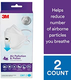 3M Air Pollution & Pollen Particulate Respirator, Designed for Smoke and Smog Particles, 2 Pk, Adult