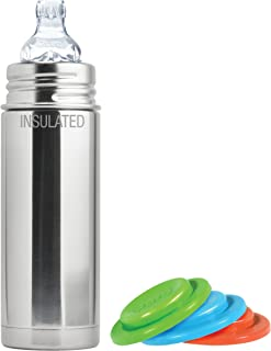 Pura Kiki Stainless Steel Vacuum Insulated Toddler Sippy Bottle, Natural,, 9 Ounce, Plus Set of 3 Silicone Sealing Disks