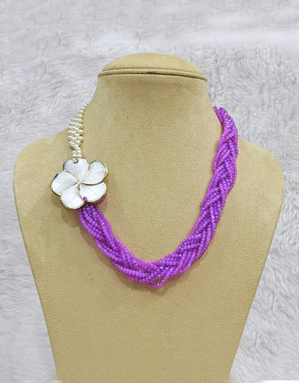 Babosa Sakhi Magenta Pearl Bead Flower Pendant Traditional Necklace Jewelry