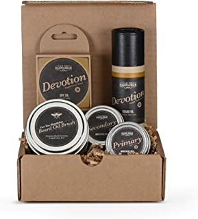 Beard Kit for Men - (Patchouli Floral Scent) - Mens Beard Balm Set with Can You Handlebar Beard Oil Brush®, Devotion Beard Balm, Beard Oil, Medium and Strong Hold Moustache Wax | Made in The USA