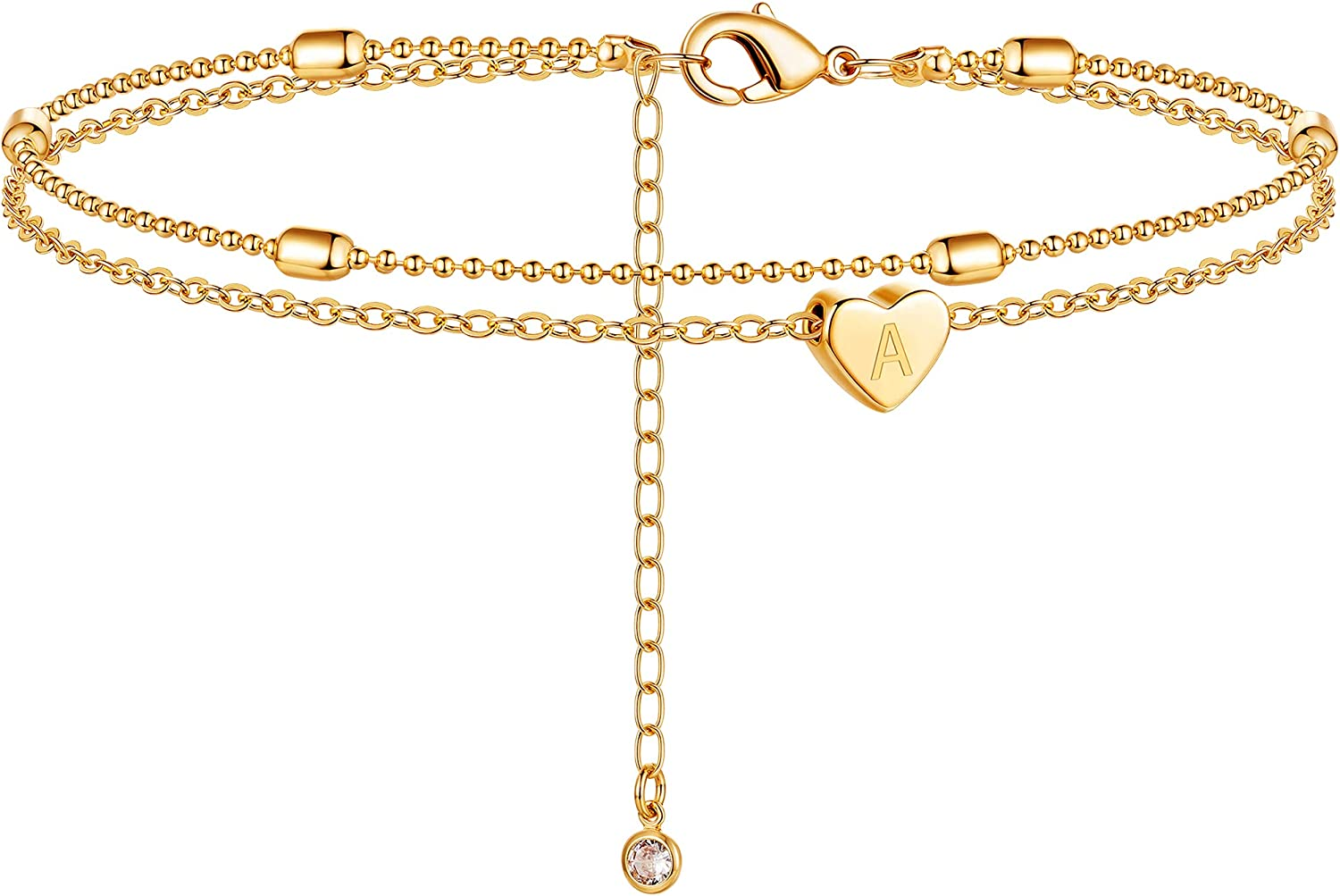 DEARMAY Gold Initial Heart Anklet 18K New product type Outlet ☆ Free Shipping He Filled Dainty Tiny