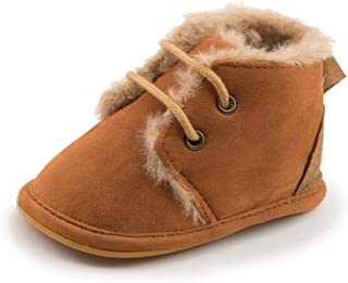 Baby Boy Girl Winter Fleece Warm Shoes Newborn Toddler Anti Slip Sneakers Crib Shoes (Baby Age : 13-18month (13CM), Color...