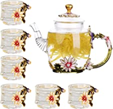Glass Teapot - 280 ml - with 6 Cups France Enamel Chrysanthemum Flower Decoration Heat Resistant Glass Teapot Kettle with ...