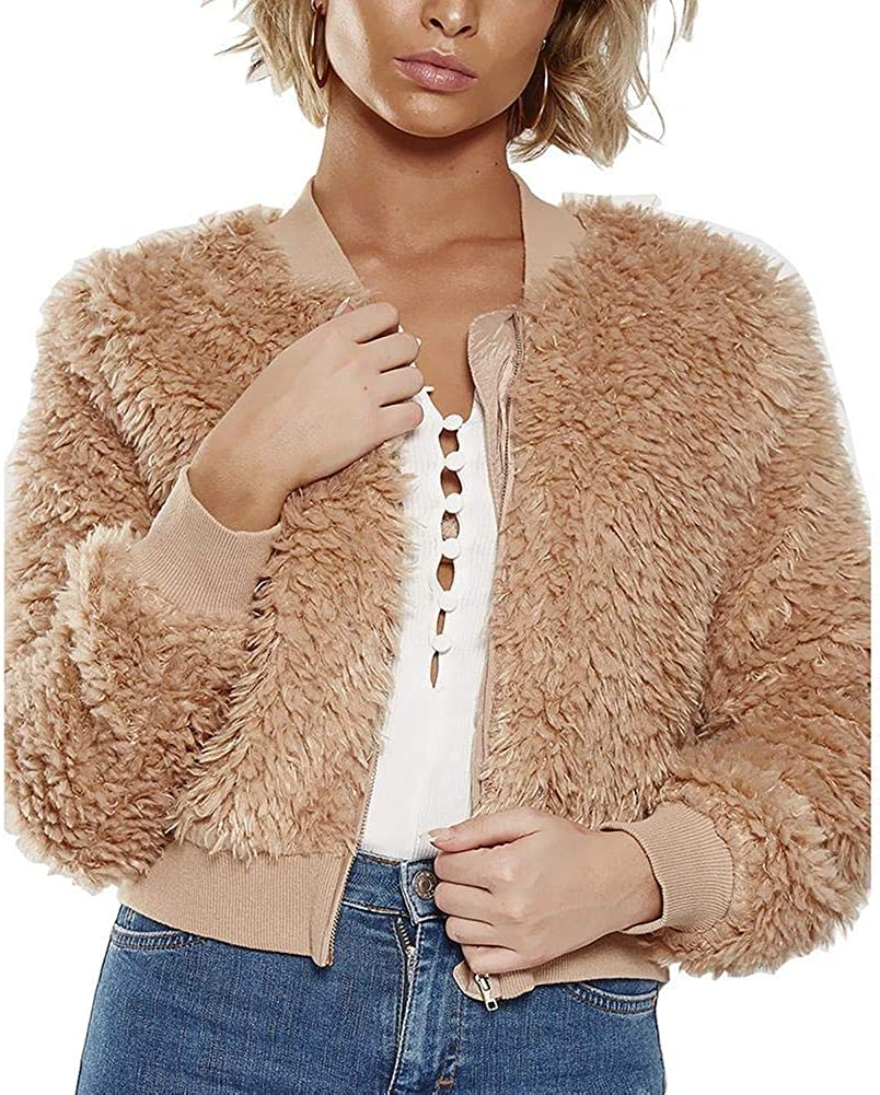 Glosun Women Fashion Long Sleeve Faux Fur Bomber Jacket Zip Up Short Coat Autumn Outerwear Tops