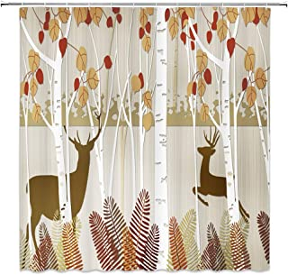 BOYIAN Deer Shower Curtain Decor Deer Running Autumn Birch Forest Tree Red Yellow Leaf Fern Seasonal Artwork Fabric Bath Curtains Bathroom Accessories Polyester with Plastic Hooks 70x70 Inch …