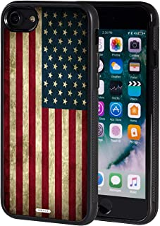 iPhone 7 Case,iPhone 8 Case,AIRWEE Slim Anti-Scratch Shockproof Silicone TPU Back Protective Cover Case for Apple iPhone 7 (2016) / iPhone 8 (2017) 4.7 Inch,Retro Vintage Old USA American Flag