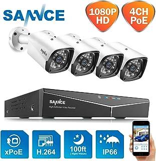 SANNCE Kit de Vigilancia Seguridad XPOE 1080P 4CH NVR y 4 IP Cámaras de Vigilancia 2MP IP66 Impermeable -sin Disco Duro Visión Nocturna 30m Alerta de detección de Movimiento