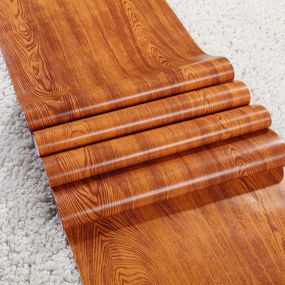 GLOW4U Faux Oak Wood Grain Contact Paper for Cabinets Countertops Decorative Self Adhesive Vinyl Film Laminate Shelf Drawer Liner 17.7x117 Inches