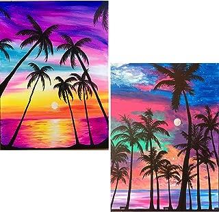 Leyzan 2 Pack 5D Diamond Painting Coconut Trees and Beaches Full Drill Paint with Diamond Art, Shells & Moonlight Sandbeach DIY Painting by Number Kits Rhinestone Wall Home Decor 30x40cm (12x16 inch)