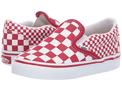 Vans Kids Classic Slip-On (Toddler) ((Mix Checker) Chili Pepper/True White) Kids Shoes