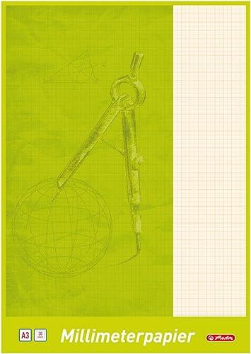 Herlitz 690305Bloc de feuilles de papier millimétré A3, 25 feuilles a3
