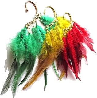 Modern Fashion Rasta Reggae Feather Ear Cuff - Earring - Hair Accessory - New