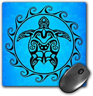 3dRose Mouse Pad A Ocean Blue Tribal Honu Sea Turtle in A Maori Sun Polynesian Symbol. - 8 by 8-Inches (mp_295356_1)