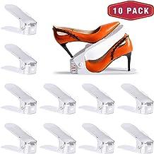 Yashong Shoe Slots Organizer, 10PCS Adjustable Double Layer Stack Shoe Rack, 50% Space-Saving Storage Rack Holder, White