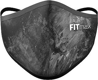 FITmask Mascarilla Pro Reutilizable Lavable Certificada Tejido Hidrófugo Made in Spain Grunge Black - Adulto Cabecera - L