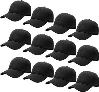 Wholesale 12-Pack Baseball Cap Adjustable Size Plain Blank Solid Color