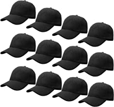Falari Wholesale 12-Pack Baseball Cap Adjustable Size Plain Blank Solid Color
