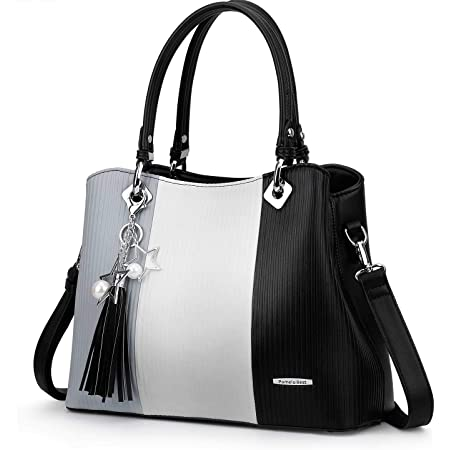 Handtaschen für Damen mit mehreren Innentaschen und hübscher Farbkombination, Extra Large - Black, XL, Schultertaschen
