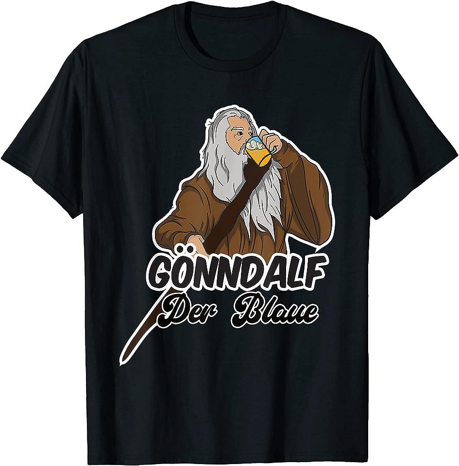 Herren Gönndalf der Blaue lustiger Bier Spruch Saufen Party Feiern T-Shirt