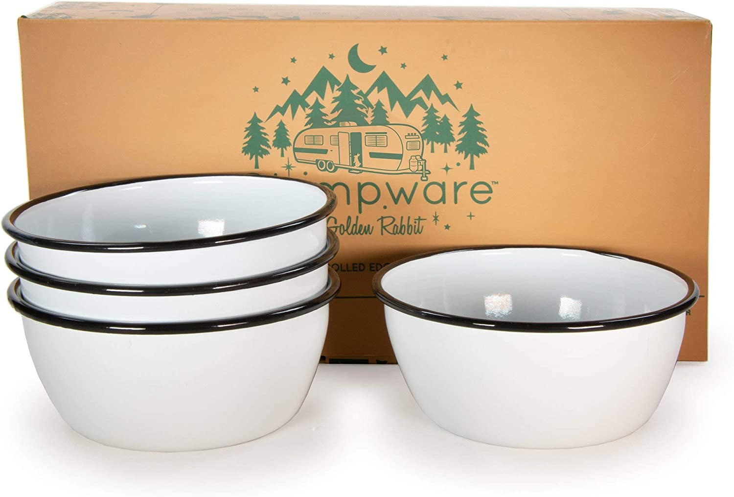 Golden Rabbit Glampware - Set Max 40% OFF of with White 4 Bowls Trim Black Excellence