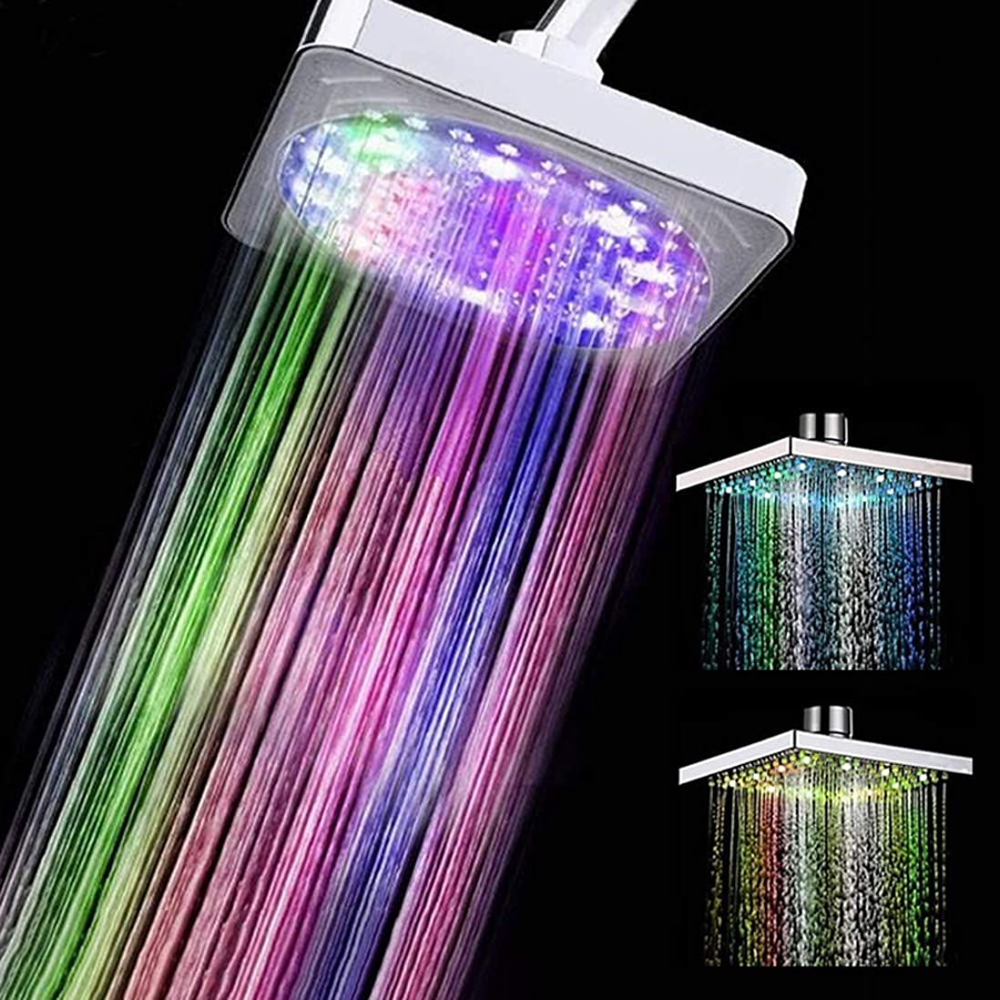 コーナークール資料多彩なLEDの正方形の降雨量のシャワー?ヘッドsparyライト水スプリンクラーの浴室の壁に取り付けられた浴室はシャワーヘッドを導きました
