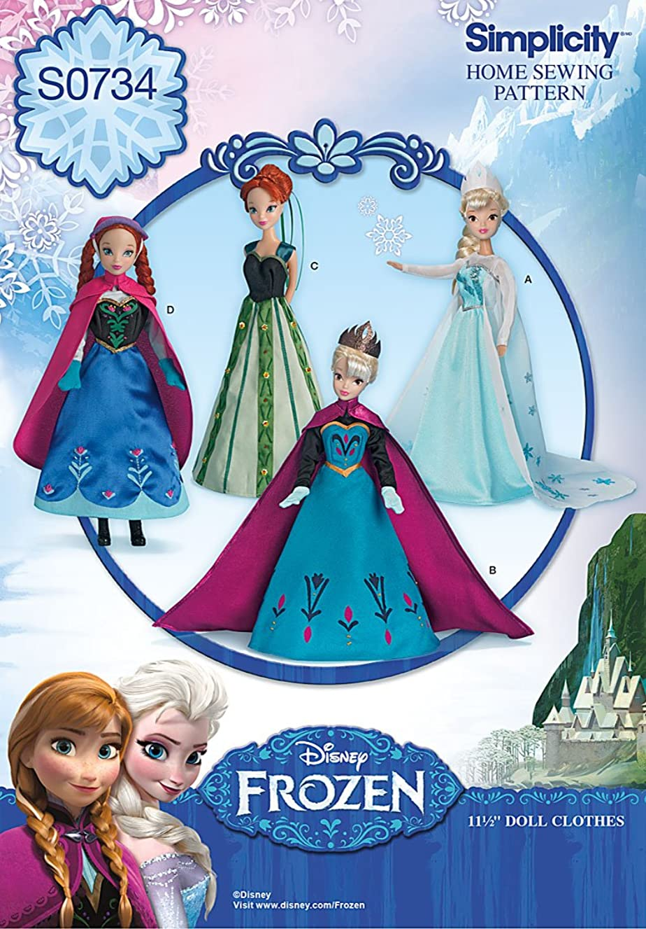Simplicity Creative Patterns S0734 Disney's Frozen Doll Pattern Clothes, 11-1/2-Inch
