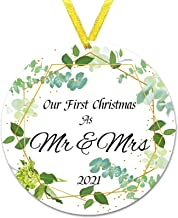 1 Pack Family Christmas Tree Ornament, 2021 Christmas Pendant Decoration Round Plastic Hanging Decoration with Rope, Print...