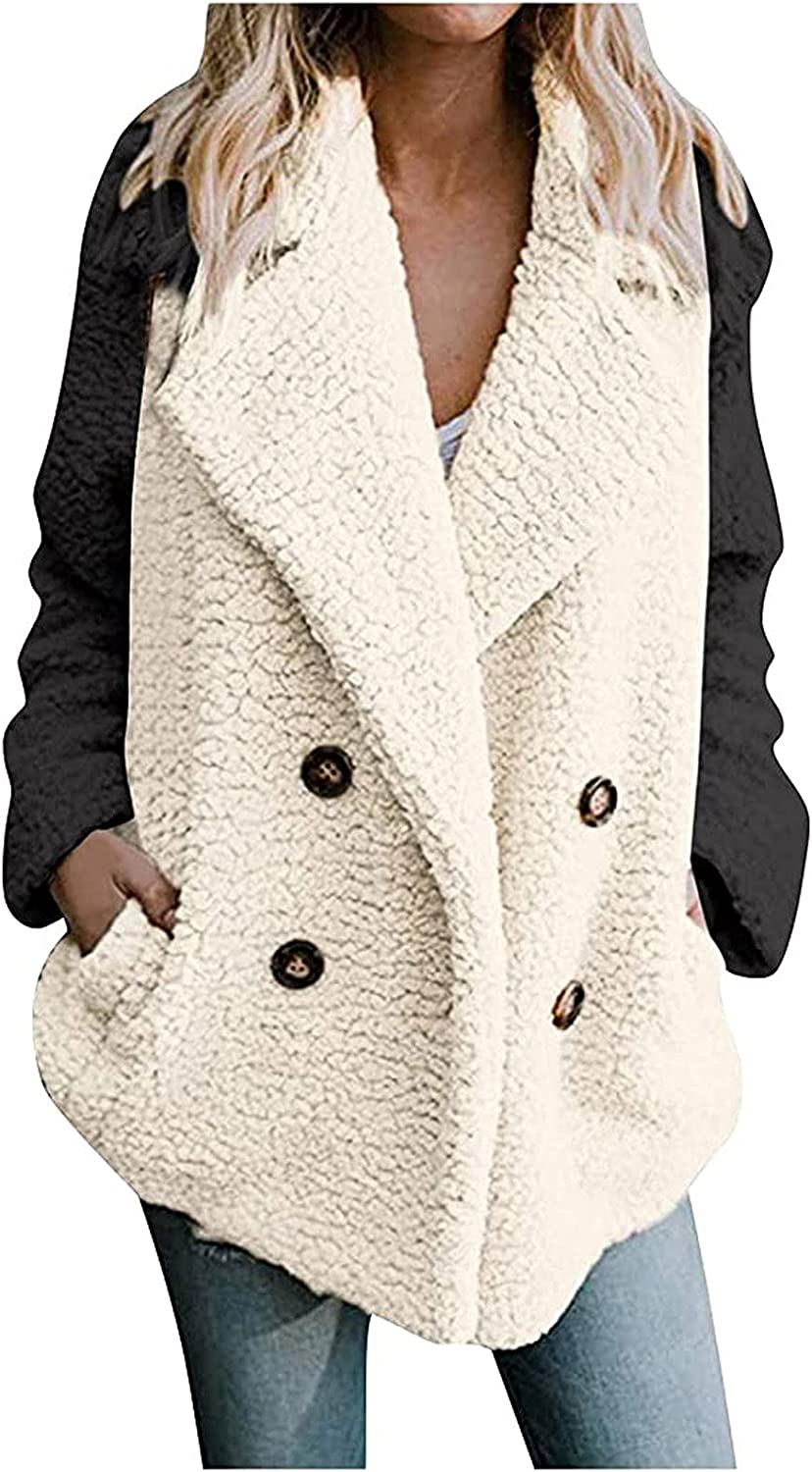Hatoys SALENEW very popular Womens Jackets Fleece Coat Color Double Match Sleeves Bre Recommendation