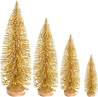 LIOOBO 4 PCS Xmas Christmas Tree Desktop Flocking Desktop Decoration Adornment Craft Supplies for Home Shopping Mall Store Office