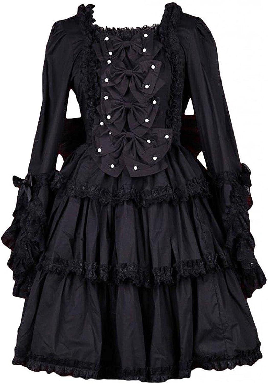 Cemavin Womens Black Cotton Square Neck Bow Decoration Long Sleeves Sweet Lolita Dress