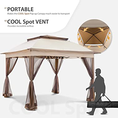 COOL Spot 11'x11' Pop-Up Gazebo Tent Instant with Mosquito Netting Outdoor Gazebo Canopy Shelter with 121 Square Feet
