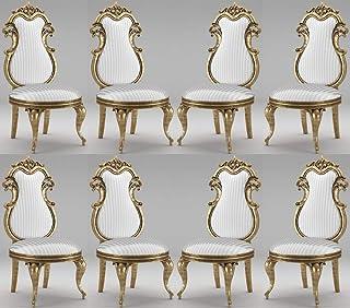 Casa Padrino Conjunto de sillas de Comedor Barroco Blanco/Plata/Oro Antiguo 55 x 55 x A. 120 cm - Sillas de Cocina con Rayas magníficas - Conjunto de sillas barrocas de 8 - Muebles de Comedor