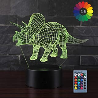 YAZOM 3D Dinosaur Night Light 16 Colors +7 Colors Changing with Remote Control and Smart Touch Xmas Birthday Gifts for Boys Girls