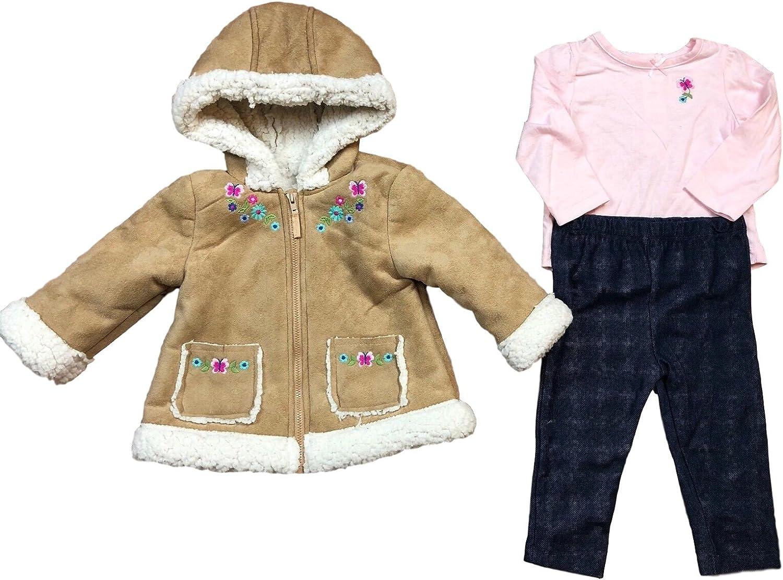 Little Me Girls Tan Floral Fleece Jacket with Pink Shirt and Denim Leggings