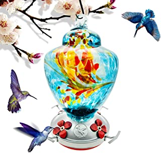 Hummingbird Feeder with Perch - Hand Blown Glass - Blue - 38 Fluid Ounces Hummingbird Nectar Capacity Include Hanging Wire...