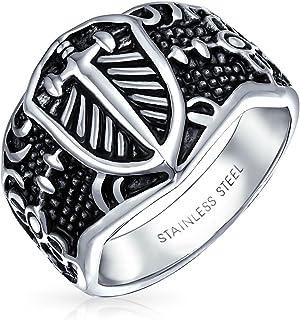 Mens Religious Viking Shield Maltase Fleur De Lis Cross Signet Band Ring for Men Oxidized Silver Tone Acciaio Inossidabile