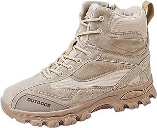 Willsky Bottes Tactique Hommes High Top Outdoor Chaussures De Randonnée Non-Slip Lacets Wearable Bottes De Combat,Beige,44EU