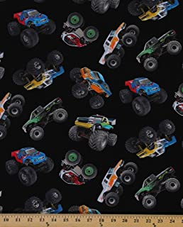 Cotton Monster Trucks Crushers Dirt Sports In Motion Black Cotton Fabric Print by the Yard (396-black)