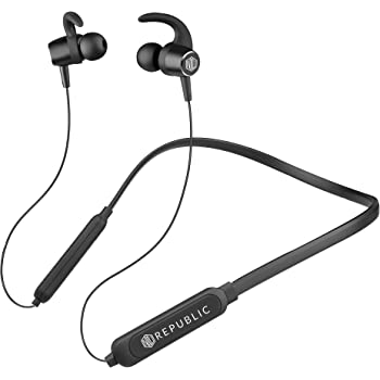 Nu Republic Cosmo in-Ear Bluetooth Neckband Earphones with Deep Bass, BT v5.0, 10mm Dynamic Drivers, 10 hrs Battery Life, Foldable Design, in-Line Controls with Mic-Black
