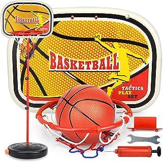 ColiCor Canestro Basket 83-200CM Canestro da Basket Regolabile e Supporto per Bambini con gonfiatore Gioco per Famiglie