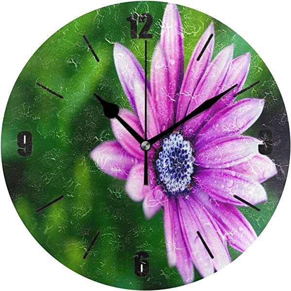 PAGSRAH Daisy Flower Purple Wall Clock Silent Non Ticking 9 5 Inch Round Clock Acrylic Art Painting Home Office School Decor