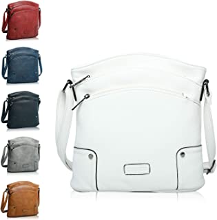 CASAdiNOVA Handtasche Damen - veganes leder- Umhängetasche Weiß , Schultertasche, kleine Tasche - 25x26x5 cm