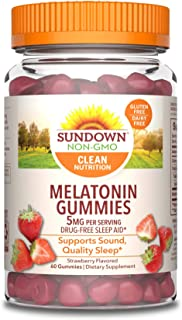 Sundown Melatonin 5 Milligram Gummies (Count 60), Strawberry Flavored, Supports Sound Quality Sleep*, Non-GMOˆ, Free of Gl...