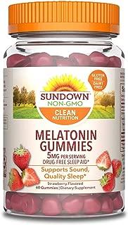 Sundown Melatonin 5 Milligram Gummies (Count 60), Strawberry Flavored, Supports Sound, Quality Sleep Non-GMO, No Artificial Flavors