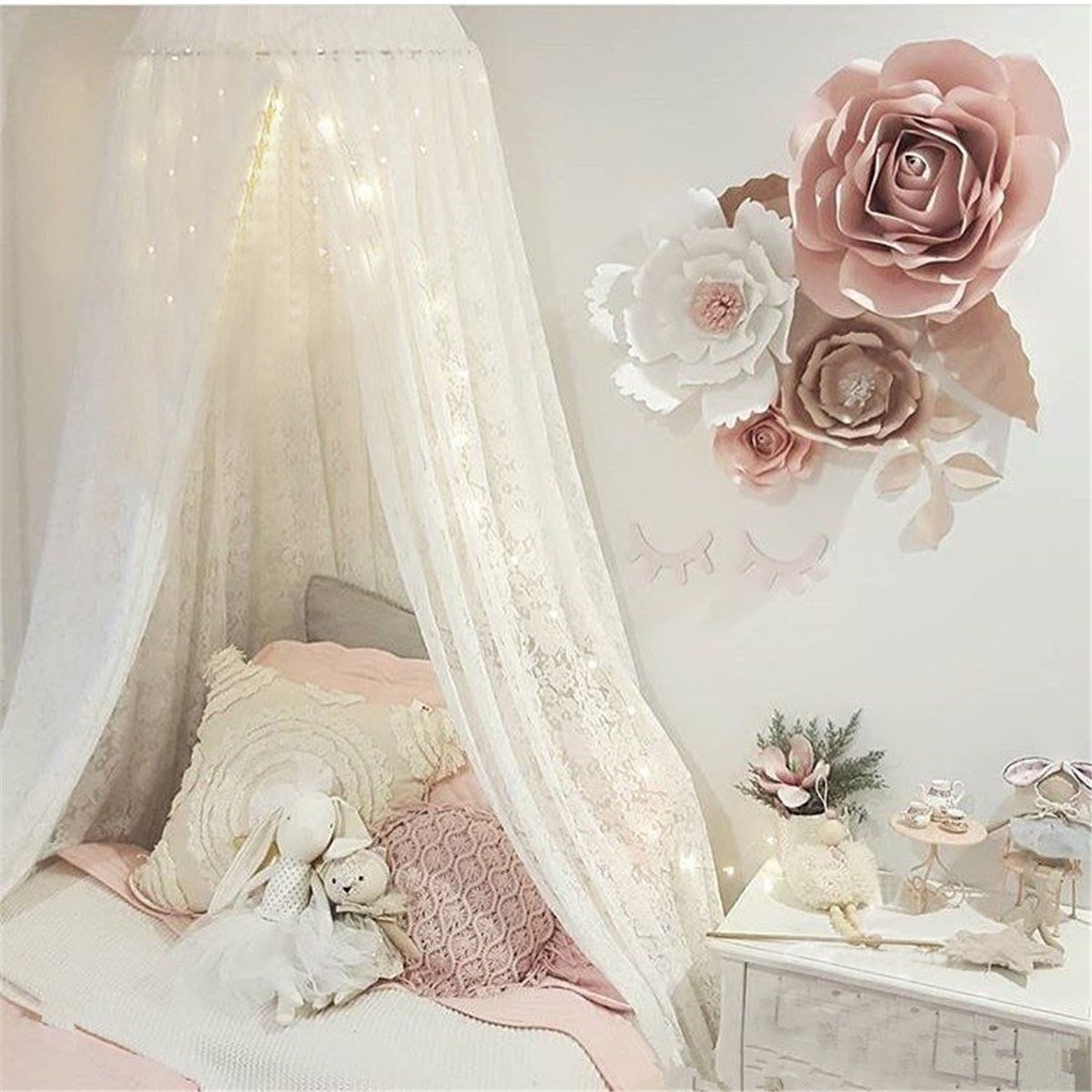 Princess Bed Canopy for Girls, Dix-Rainbow Lace Crib Canopy Net for Baby Toddler Bed Canopy Tent Fairy Crib Mosquito Net Kids Reading Nook Play Castle - Premium White Lace
