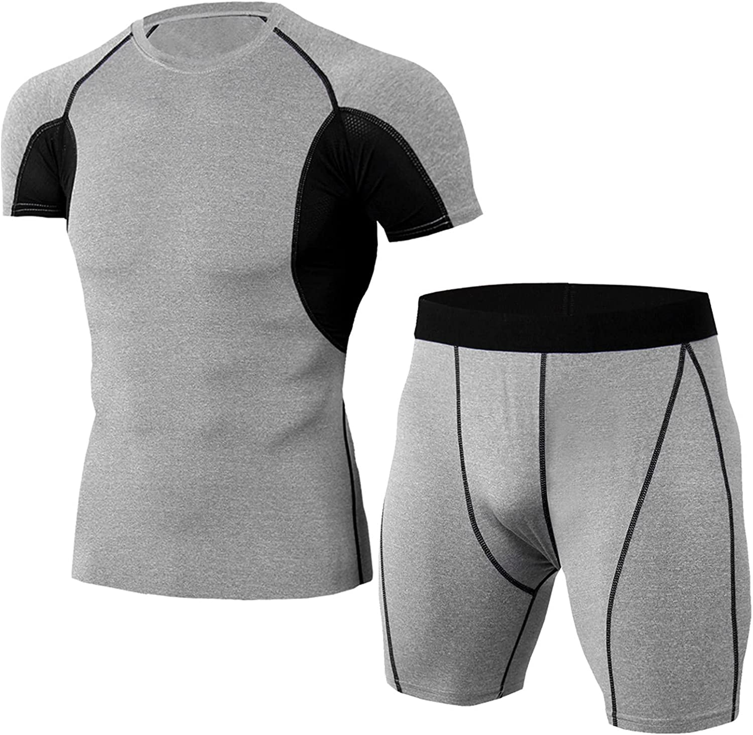 Men's Tracksuit Athletic Sports Rompers Tight Elastic Quick-Drying Fitness T-Shirt Short Sleeve Shorts Set 2 Piece